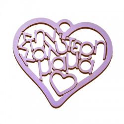 """Ξύλινο Μοτίφ Γούρι Καρδιά """"καλύτερη μαμά"""" 71x80mm"""