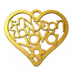 """Ξύλινο Μοτίφ Καρδιά """"καλύτερη νονά"""" 71x80mm"""