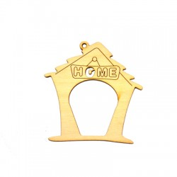 """Wooden Lucky Pendant House """"HOME"""" 66mm"""