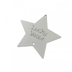 "Wooden Lucky Pendant Star ""Lucky Year"" 73x71mm"