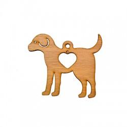 Ξύλινο Μοτίφ Γούρι Σκύλος με Καρδιά 88x77mm