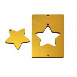 Wooden Lucky Pendant Rectangular Star 49x85mm (2 pieces set)