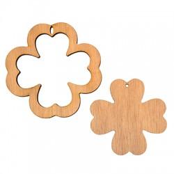 Wooden Pendant Four Leaf Clover 89mm (2pcs set)