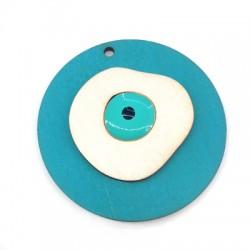 Ciondolo di Legno Rotondo con Occhio Portafortuna Smaltato 50mm