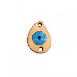 Intercalaire goutte en Bois 26x19mm avec œil porte-bonheur émaillé