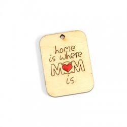 """Ξύλινο Μοτίφ Ταυτότητα """"mom"""" Καρδιά με Σμάλτο 45x34mm"""
