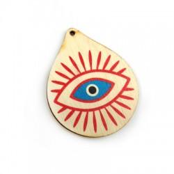 Pendentif goutte en Bois 59x48mm avec œil porte-bonheur peint