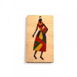 Ciondolo di Legno Rettangolare con Donna Africana Dipinta 70x39mm