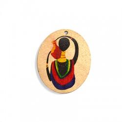 Ciondolo di Legno Ovale con Donna Africana Dipinta 50x59mm