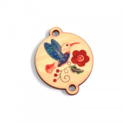 Wooden Pendant Round Floral Painted Bird 28mm
