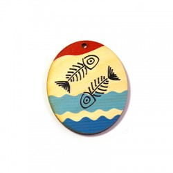 Wooden Pendant Oval Fish 60x50mm