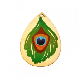 Wooden Pendant Peacock Feather 89x66mm