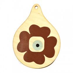 Wooden Lucky Pendant Drop 102x75mm