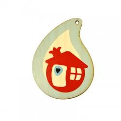 Wooden Lucky Pendant Drop House Heart 94x70mm
