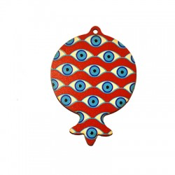 Wooden Lucky Pendant Pomegranate  80x58mm