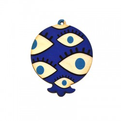 Wooden Lucky Pendant Pomegranate  80x63mm