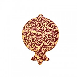 Wooden Lucky Pendant Pomegranate 80x61mm