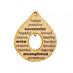 Wooden Lucky Pendant Drop w/ Wishes 76x63mm