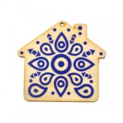 Wooden Lucky Pendant House 70x75mm