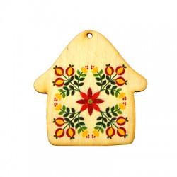Ξύλινο Μοτίφ Σπίτι με Λουλούδια 70x68mm