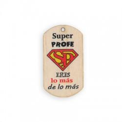 Wooden Pendant Tag 'Super Profe' 50x28mm