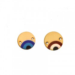 Wooden Connector Lucky Round Eye 20mm