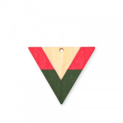 Wooden Painted Pendant Triangle 50x42mm