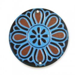 Ξύλινο Μοτίφ Στρογγυλό Λουλούδι 2 Τρύπες 50mm
