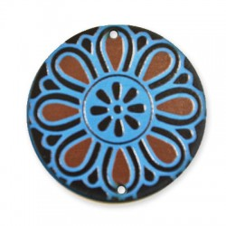 Wooden Painted Pendant Flower 50mm