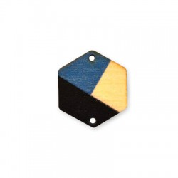 Wooden Painted Connector Hexagon 28x25mm