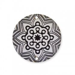 Ξύλινο Μοτίφ Στρογγυλό Λουλούδι 2 Τρύπες 40mm