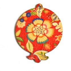 Ξύλινο Μοτίφ Ρόδι Λουλούδια 63x79mm