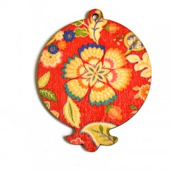 Wooden Painted Pendant Pomegranate 63x79mm