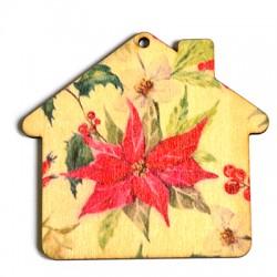 Ξύλινο Μοτίφ Σπίτι με Λουλούδια 75x69mm