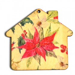 Wooden Painted House 75x69mm