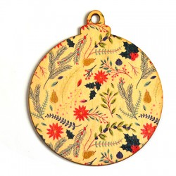 Wooden Painted Pendant Christmas Ball 93x80mm
