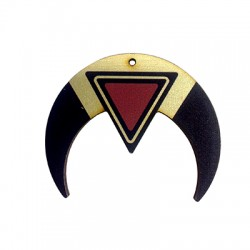 Wooden Pendant Double Horn 55x46mm