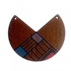 Ciondolo in Legno Geometrico Dipinto 55x46mm