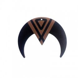Wooden Pendant Double Horn 60x49mm