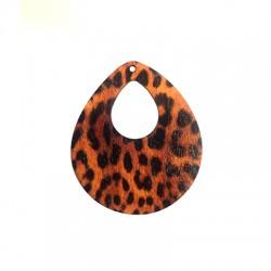 Wooden Pendant Drop Animal Print 55x65mm