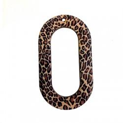 Wooden Pendant Oval Animal Print 34x60mm