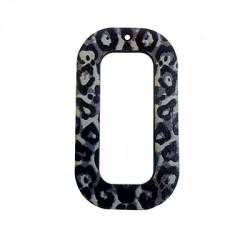 Wooden Pendant Rectangular Animal Print 33x60mm