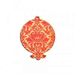 Wooden Painted Pendant Pomegranate 63x78mm