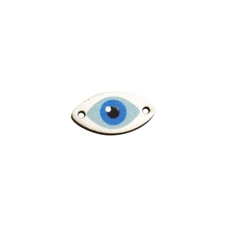 Connettore di Legno Ovale con Occhio Portafortuna dipinta 25x13mm