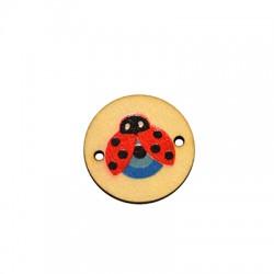 Wooden Connector Round Ladybug w/ Eye 22mm