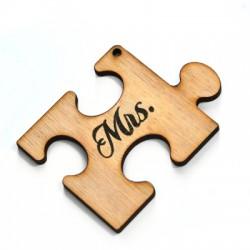 """Wooden Pendant Puzzle Piece """"Mrs"""" 69x52mm"""