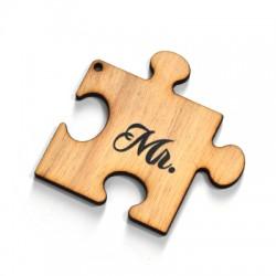 """Wooden Pendant Puzzle Piece """"Mr."""" 69x67mm"""
