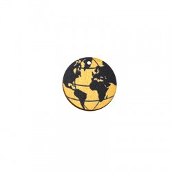 Wooden Pendant Round World Globe 25mm
