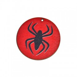Wooden Pendant Round Spider 50mm