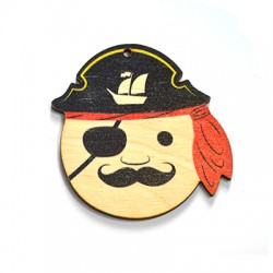 Wooden Pendant Pirate 57x60mm